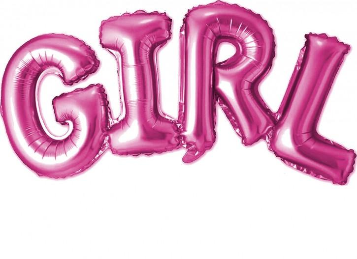 """Air-Filled Folienballon Pink - """"Girl"""" (74x33cm)"""