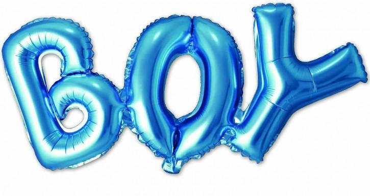 """Air-Filled Folienballon Blau - """"Boy"""" (74x33cm)"""