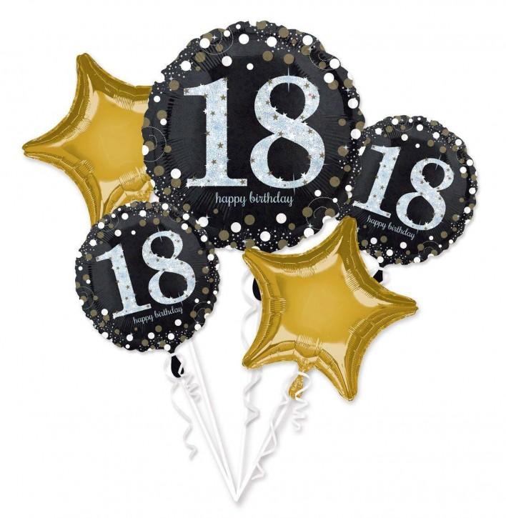 Folienballon-Set Sparkling Gold Zahl 18