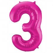 Folienballon Zahl 3 - in Magenta