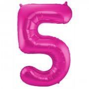 Folienballon Zahl 5 - in Magenta