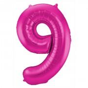 Folienballon Zahl 9 - in Magenta