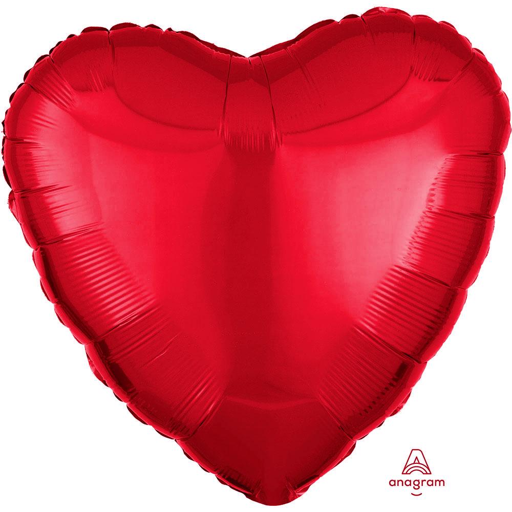 Folienballon Herz - Metallic Red (43cm)