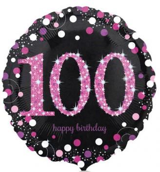 Runder Folienballon - Sparkling Pink Zahl 100 (45cm)