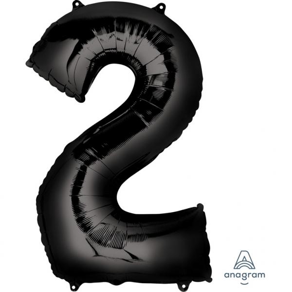 Folienballon Zahl 2 - in Schwarz