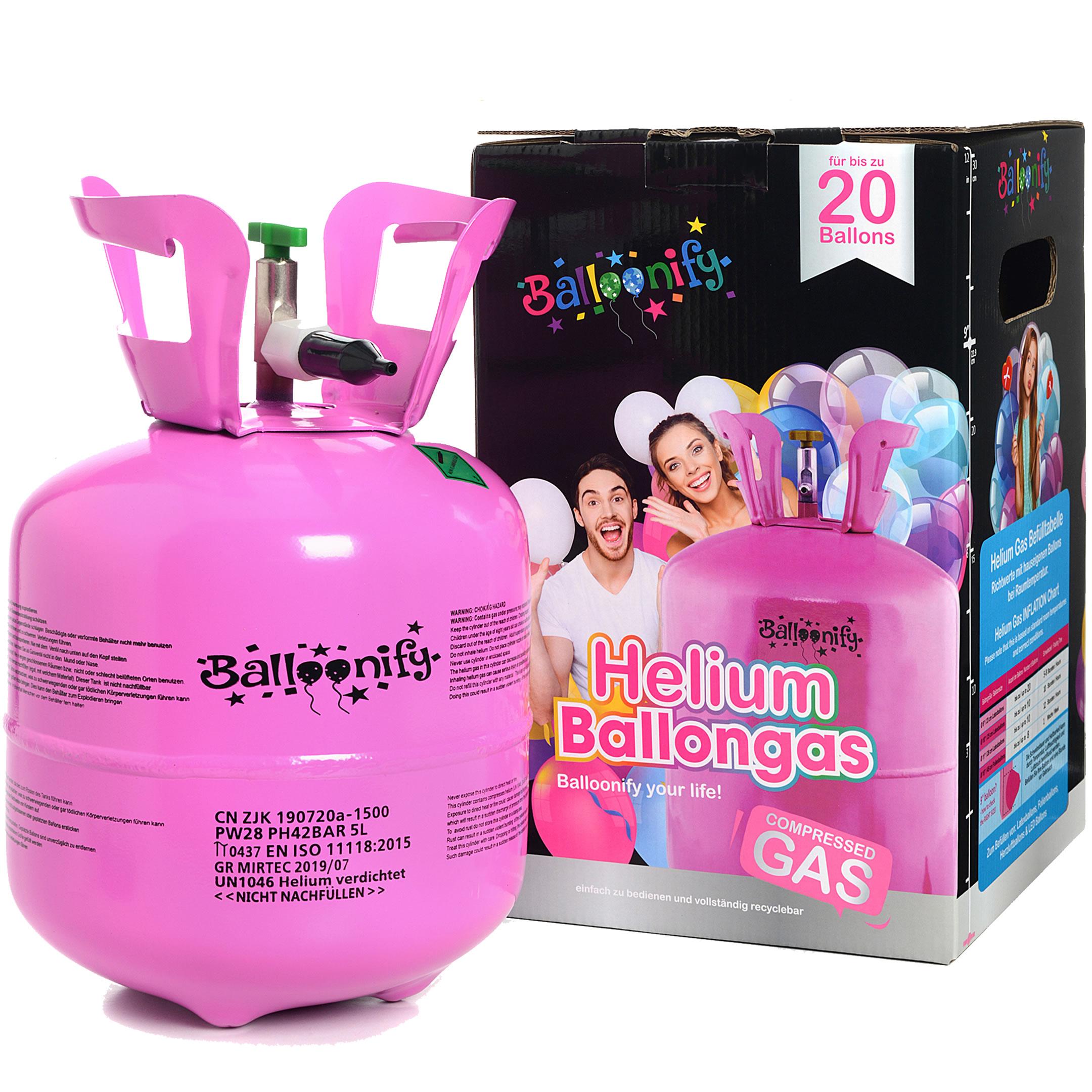Ballongas-Flasche mit Helium für 20 Ballons
