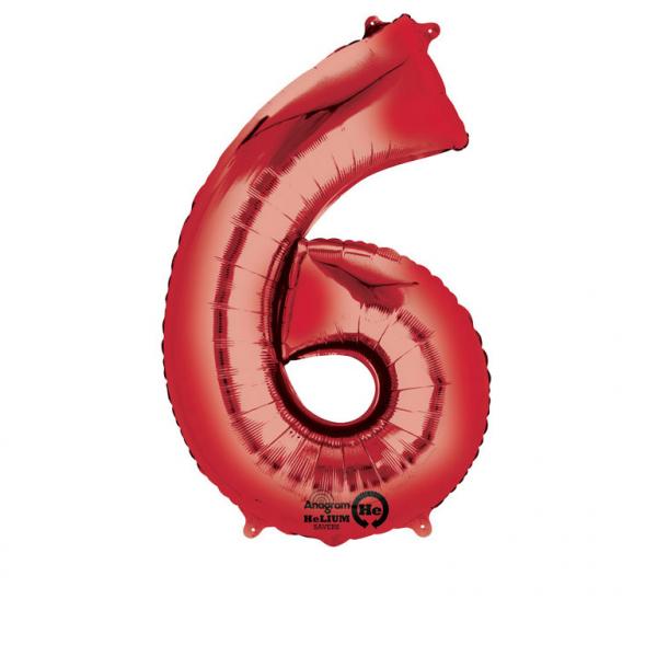 Folienballon Zahl 6 - in Rot
