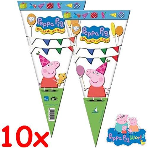 10 dreieckige Geschenktüten Peppa Pig