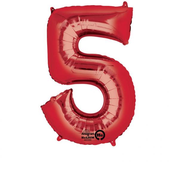 Folienballon Zahl 5 - in Rot