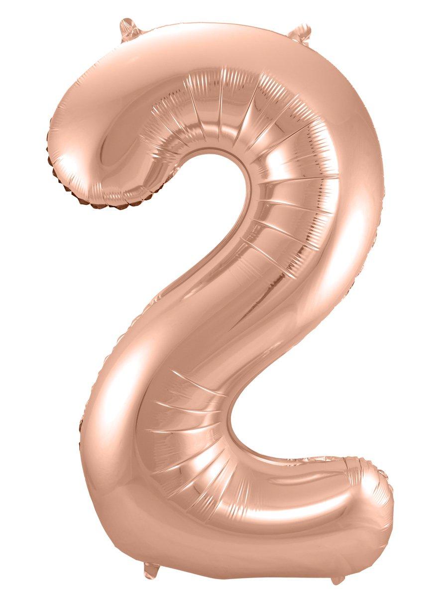 Folienballon Zahl 2 - in Roségold