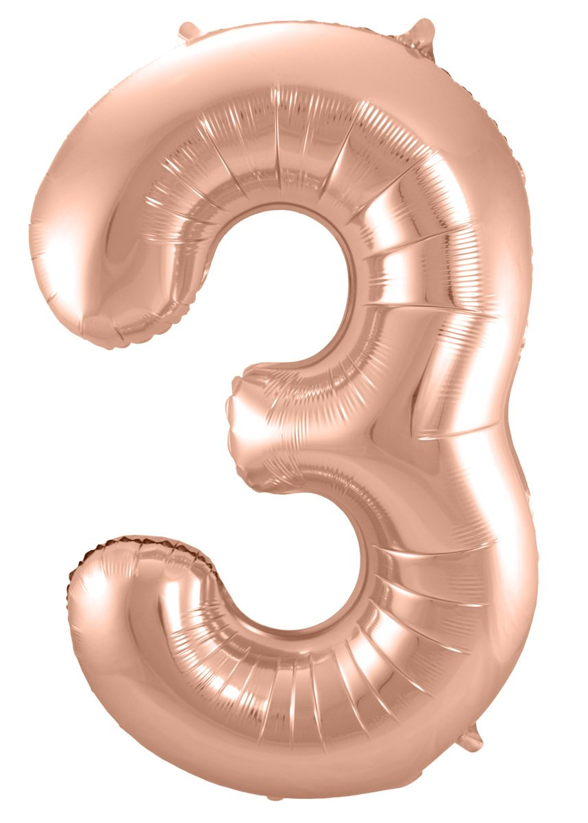 Folienballon Zahl 3 - in Roségold