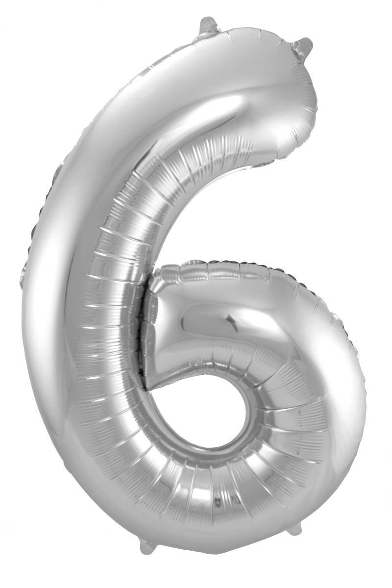 Folienballon Zahl 6 - in Silber