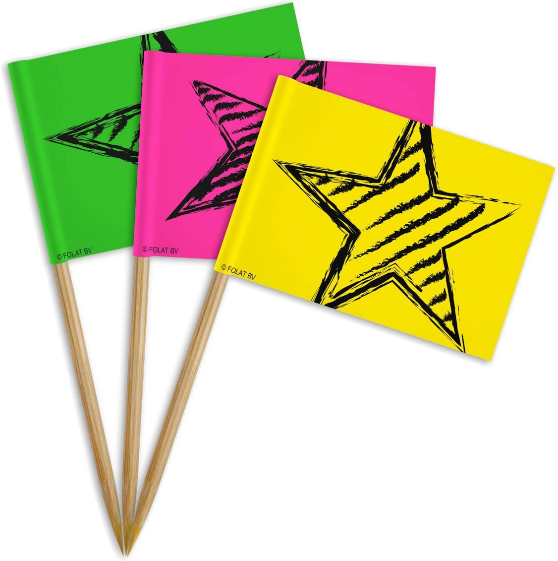 36 Party-Picker in Neon-Farben