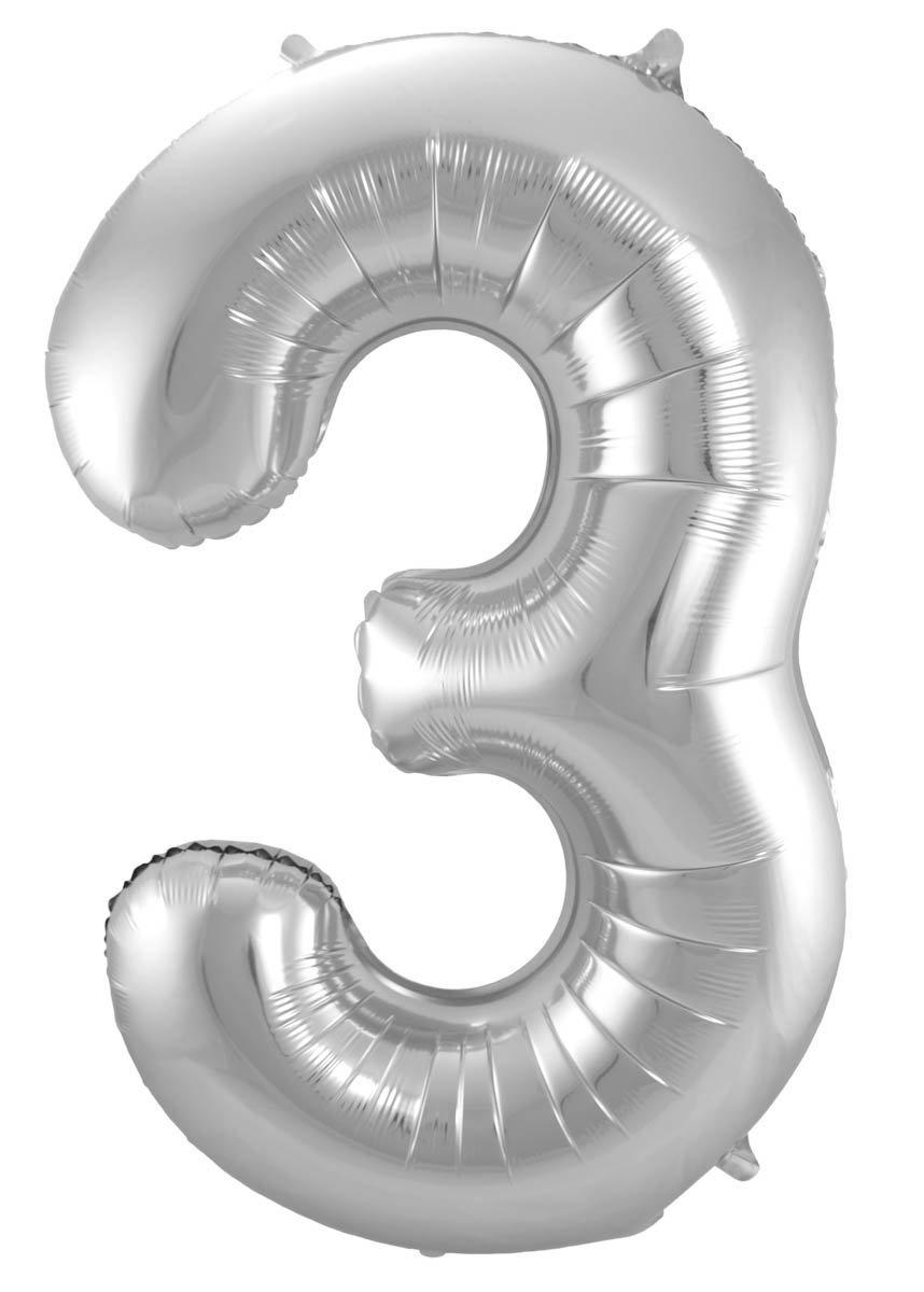 Folienballon Zahl 3 - in Silber