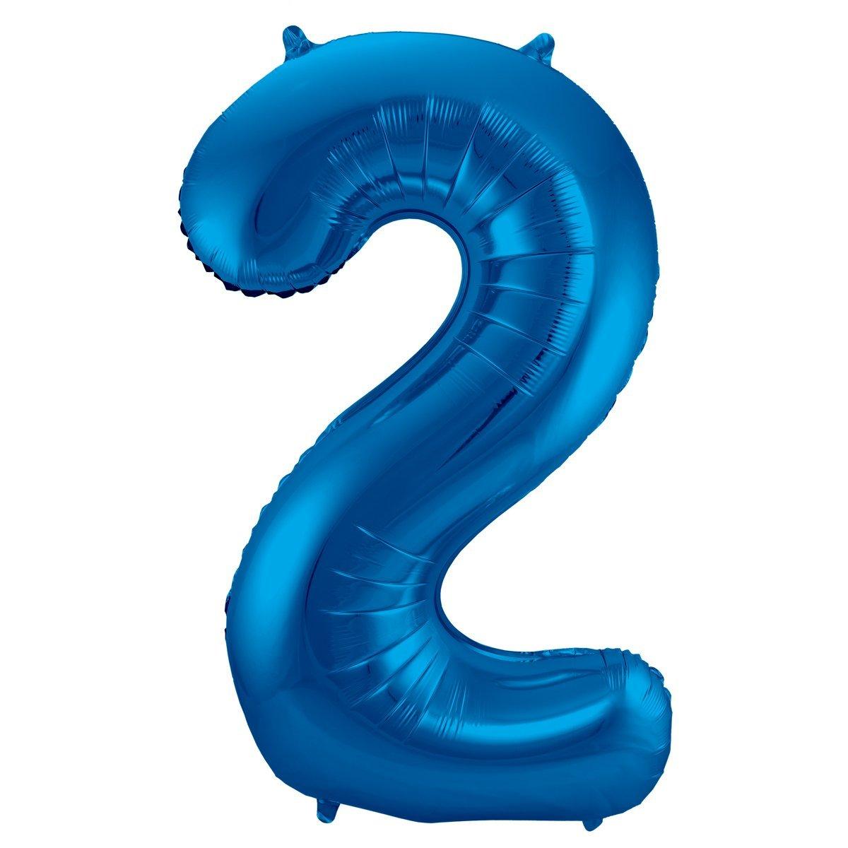 Folienballon Zahl 2 - in Blau