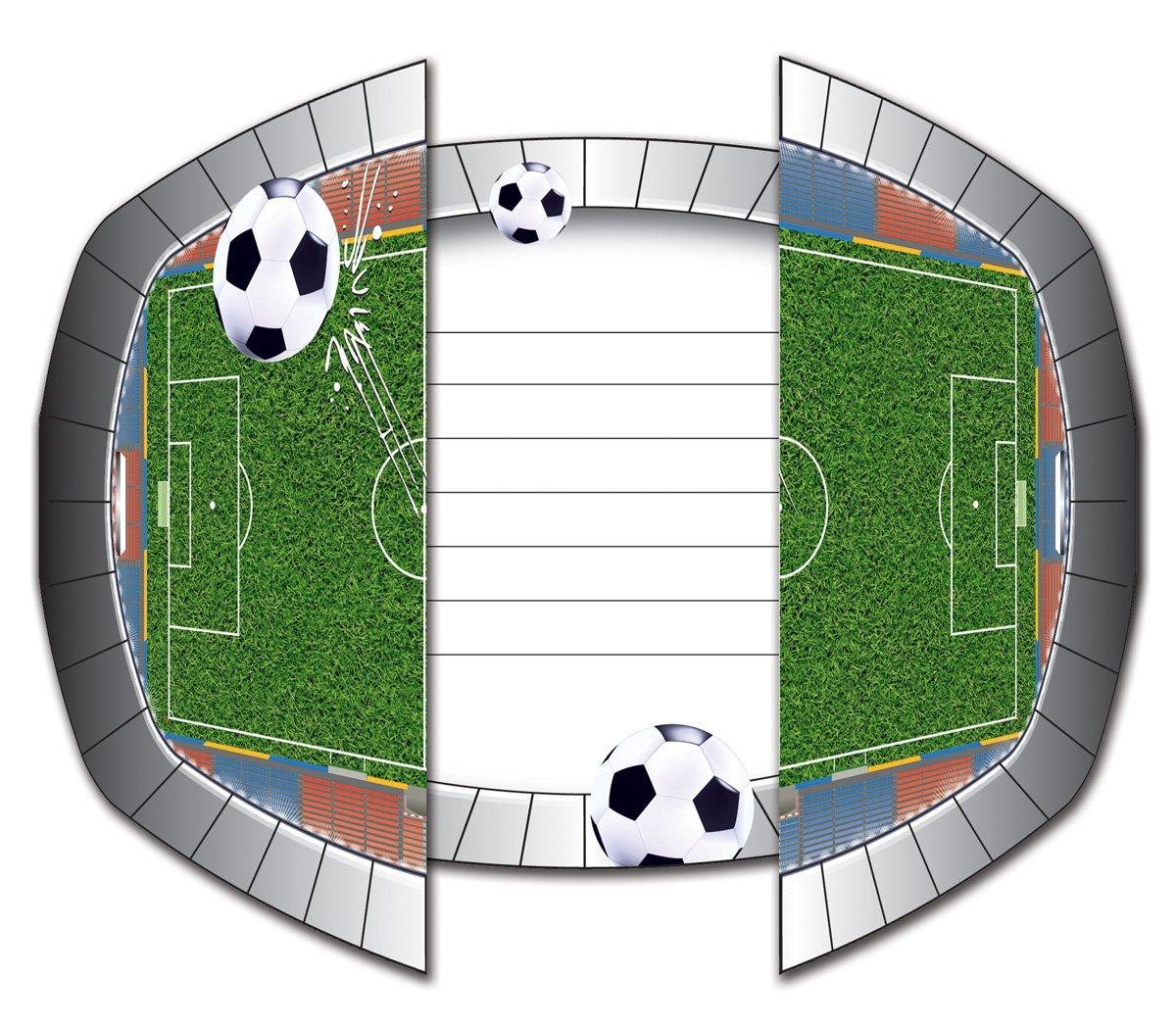 8 Einladungen + Umschläge Fußball Stadion