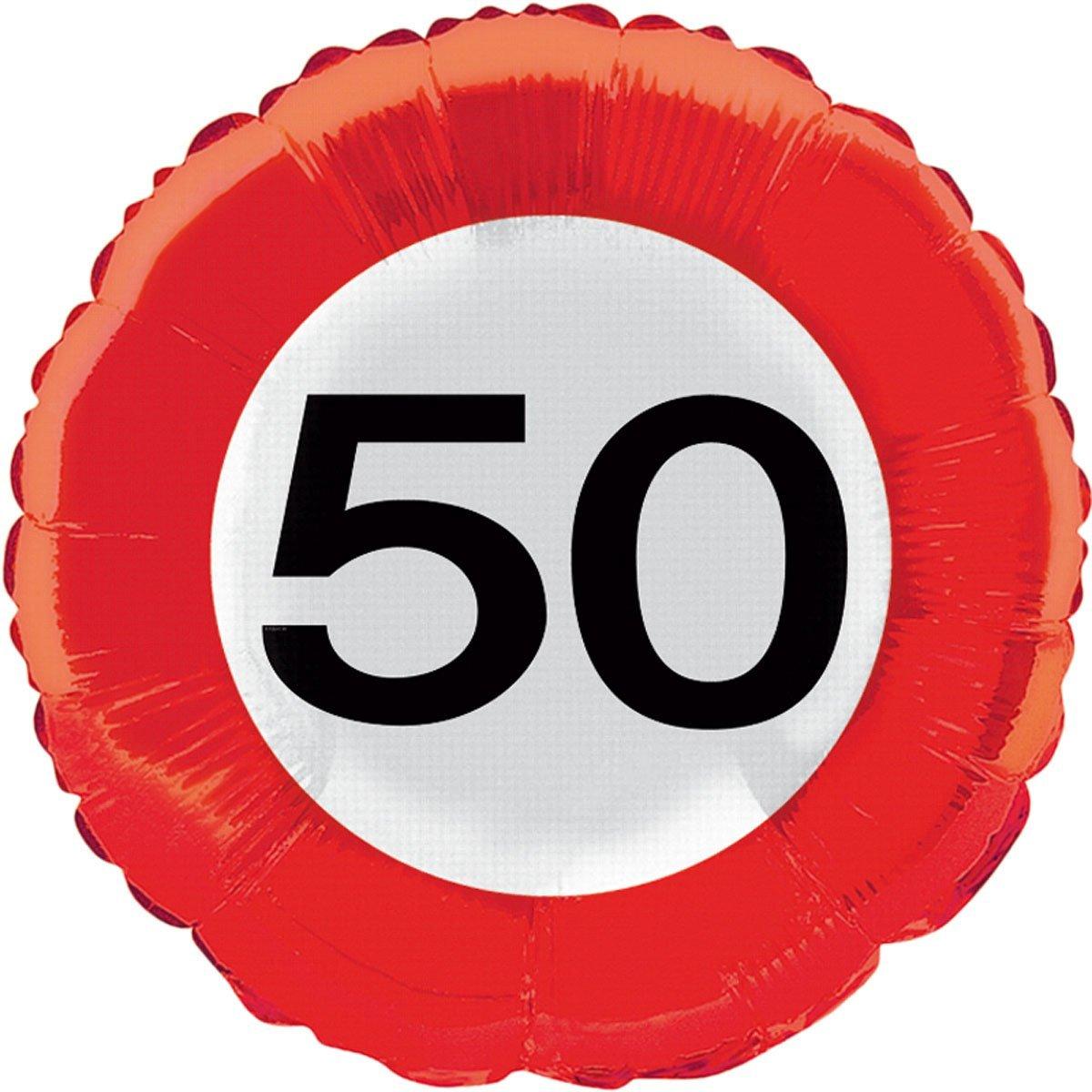 Folienballon 50. Geburtstag - Verkehrsschild-Design - Ohne Helium