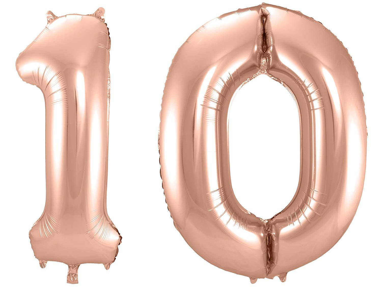 Folienballon-Set Zahl 10 - in Roségold