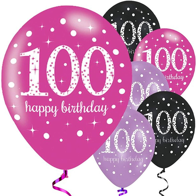 6 Luftballons 100. Geburtstag - Sparkling Pink