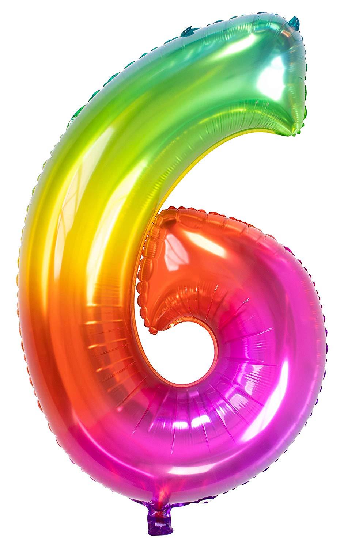Regenbogen-Folienballon Zahl 6