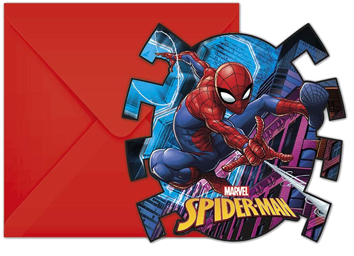6 Einladungen Spiderman - Team Up!