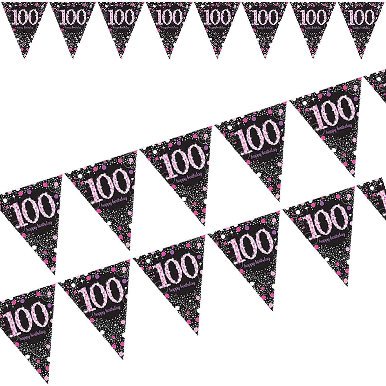 Wimpelkette 100. Geburtstag - Sparkling Pink