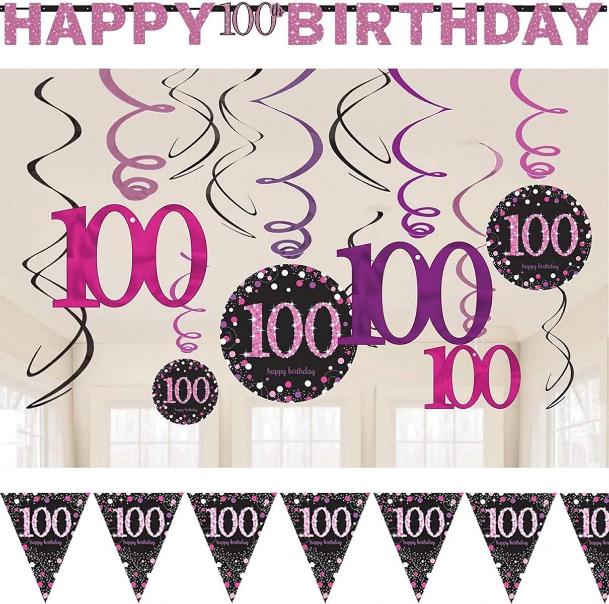 39-tlg. Deko-Set: 100. Geburtstag - Sparkling Pink