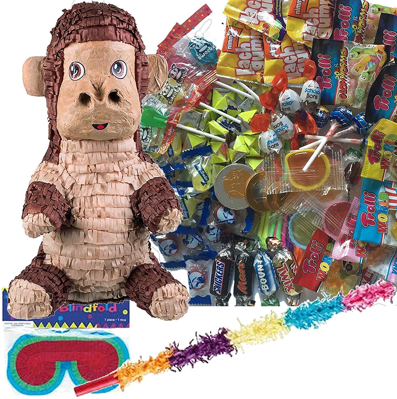 """Pinata-Set """"Affe"""" mit Süßigkeiten + Schläger + Maske"""