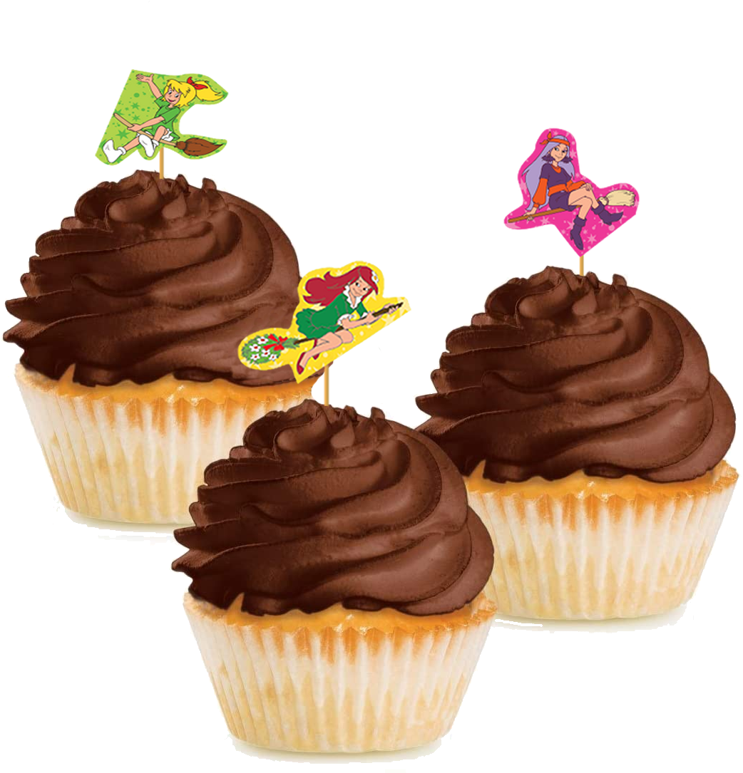 10 Cupcake Deko-Sticks - Bibi Blocksberg