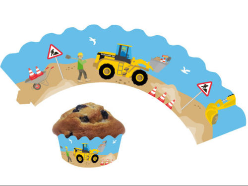 12 Cupcake Deko-Banderolen Baustelle für Muffins