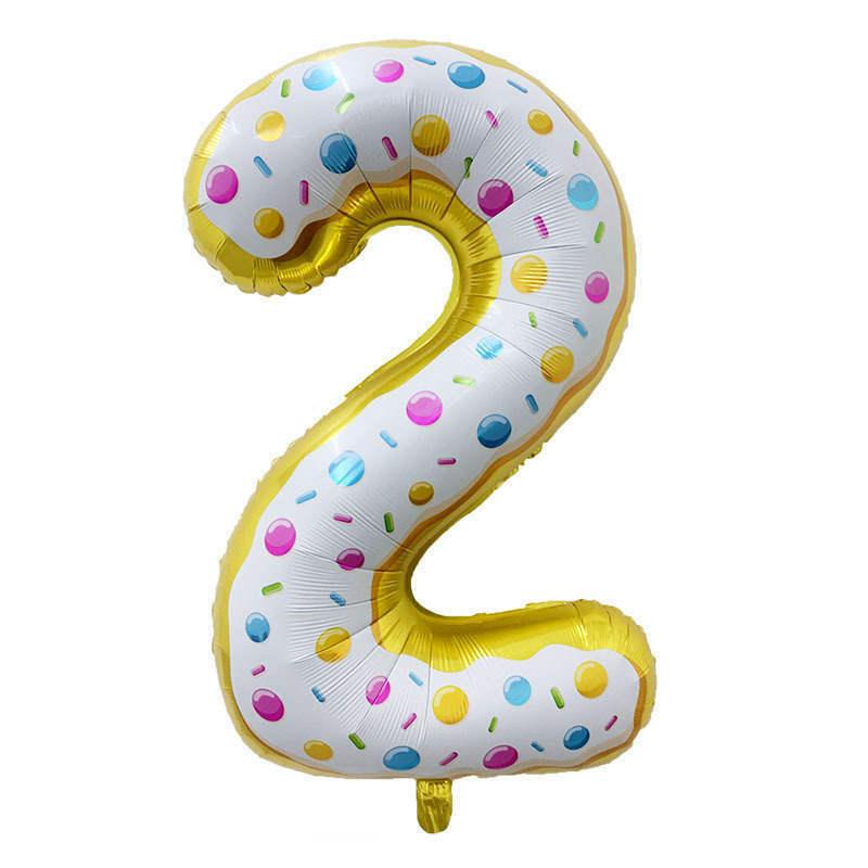 Folienballon Zahl 2 - in Donut Optik