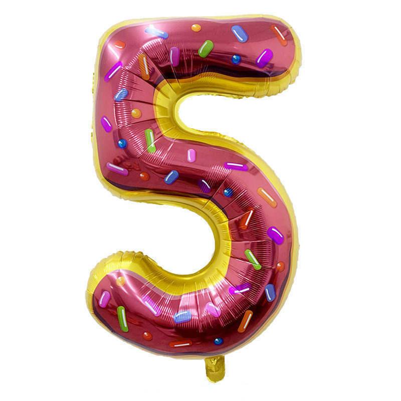 Folienballon Zahl 5 - in Donut Optik