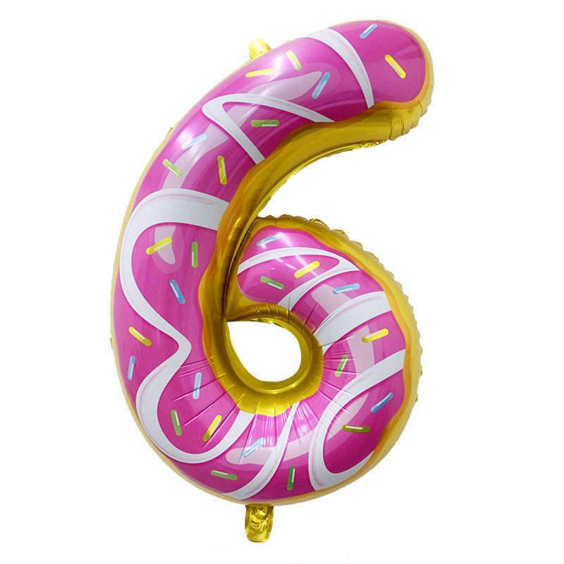 Folienballon Zahl 6 - in Donut Optik