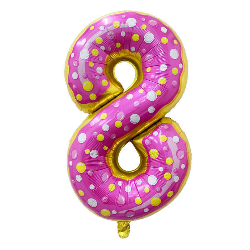 Folienballon Zahl 8 - in Donut Optik