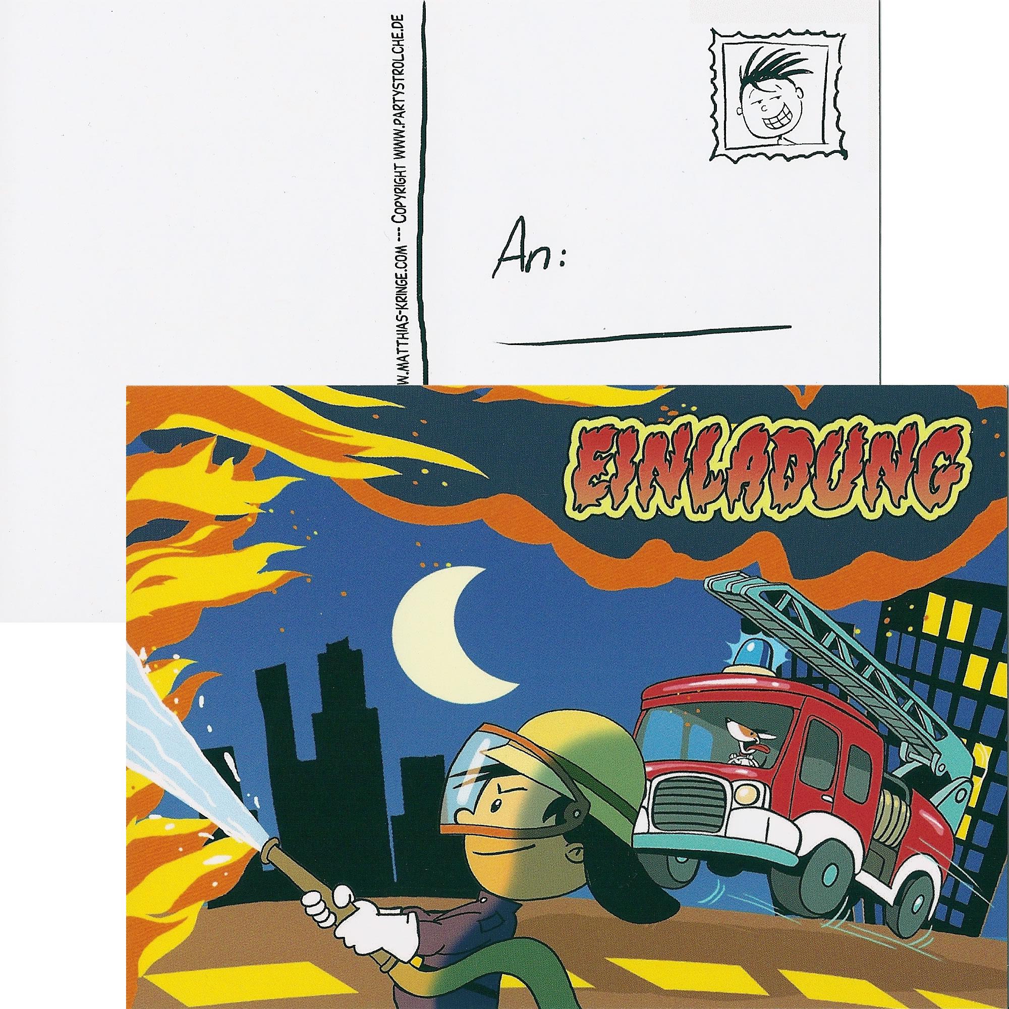 6 Einladungskarten Feuerwehrmann Flo