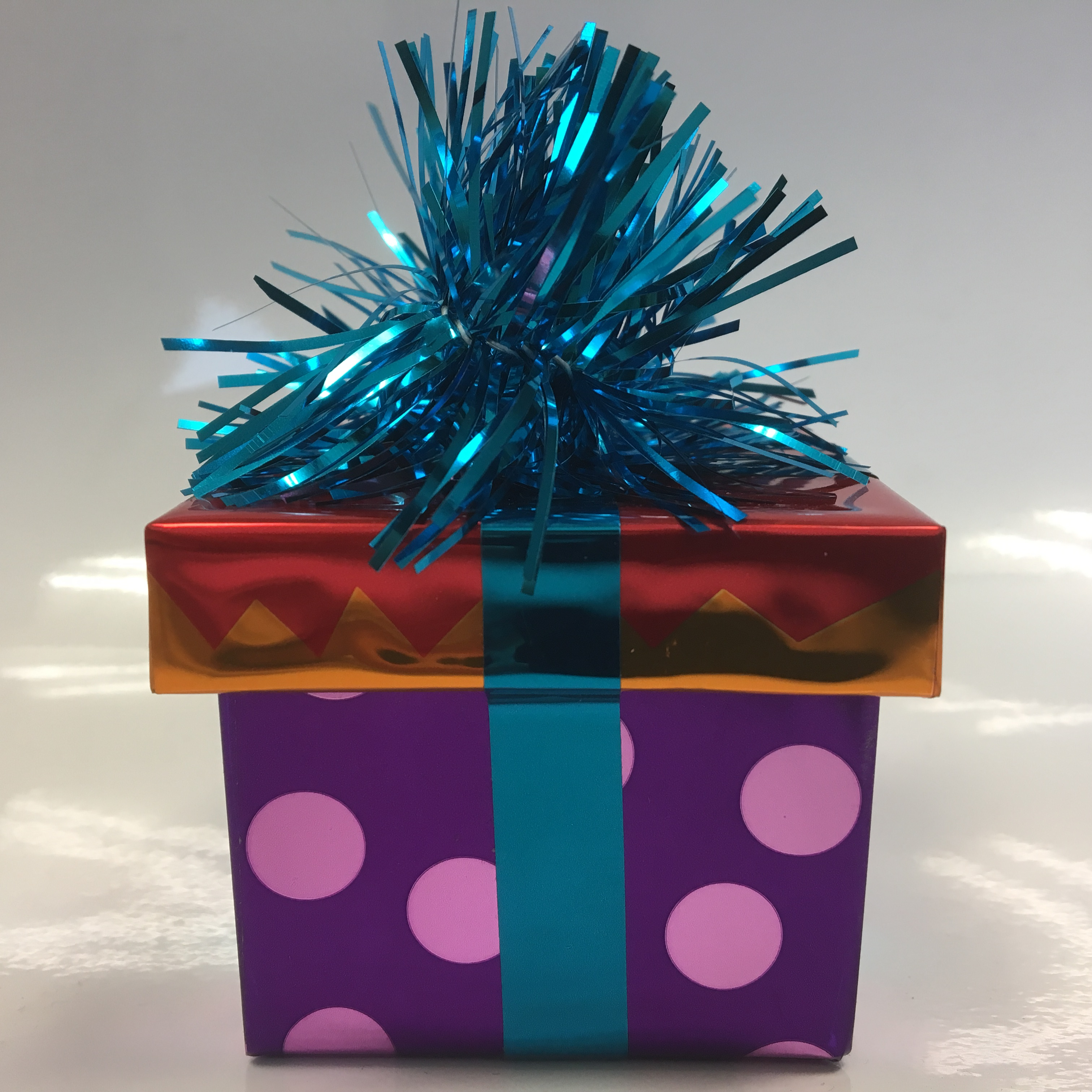 Ballongewicht Geschenk - blaues Geschenkband, roter Deckel