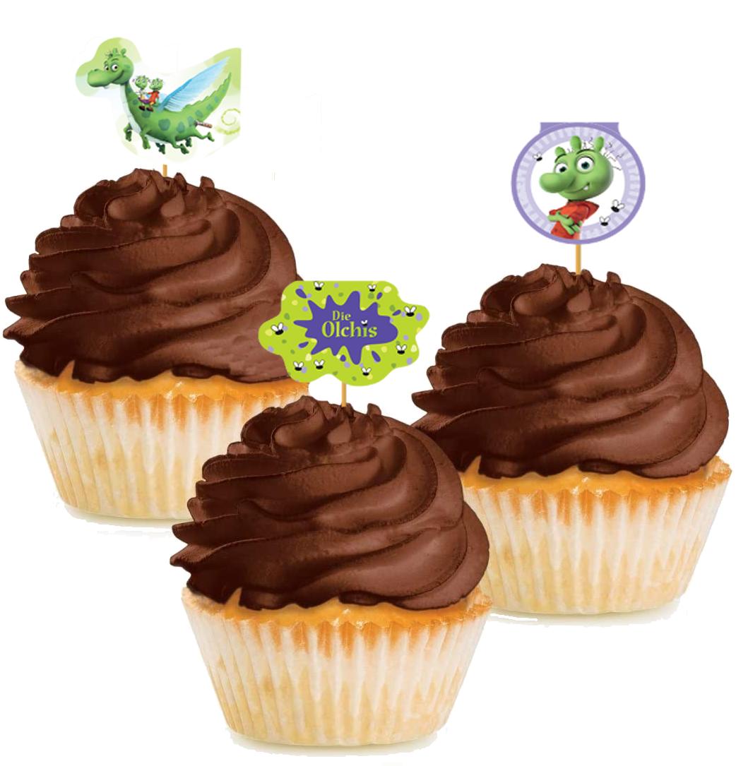 10 Cupcake Deko-Sticks - die Olchis