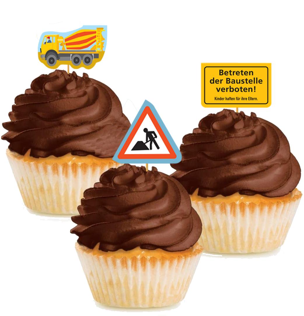 10 Cupcake Deko-Sticks - Baustelle