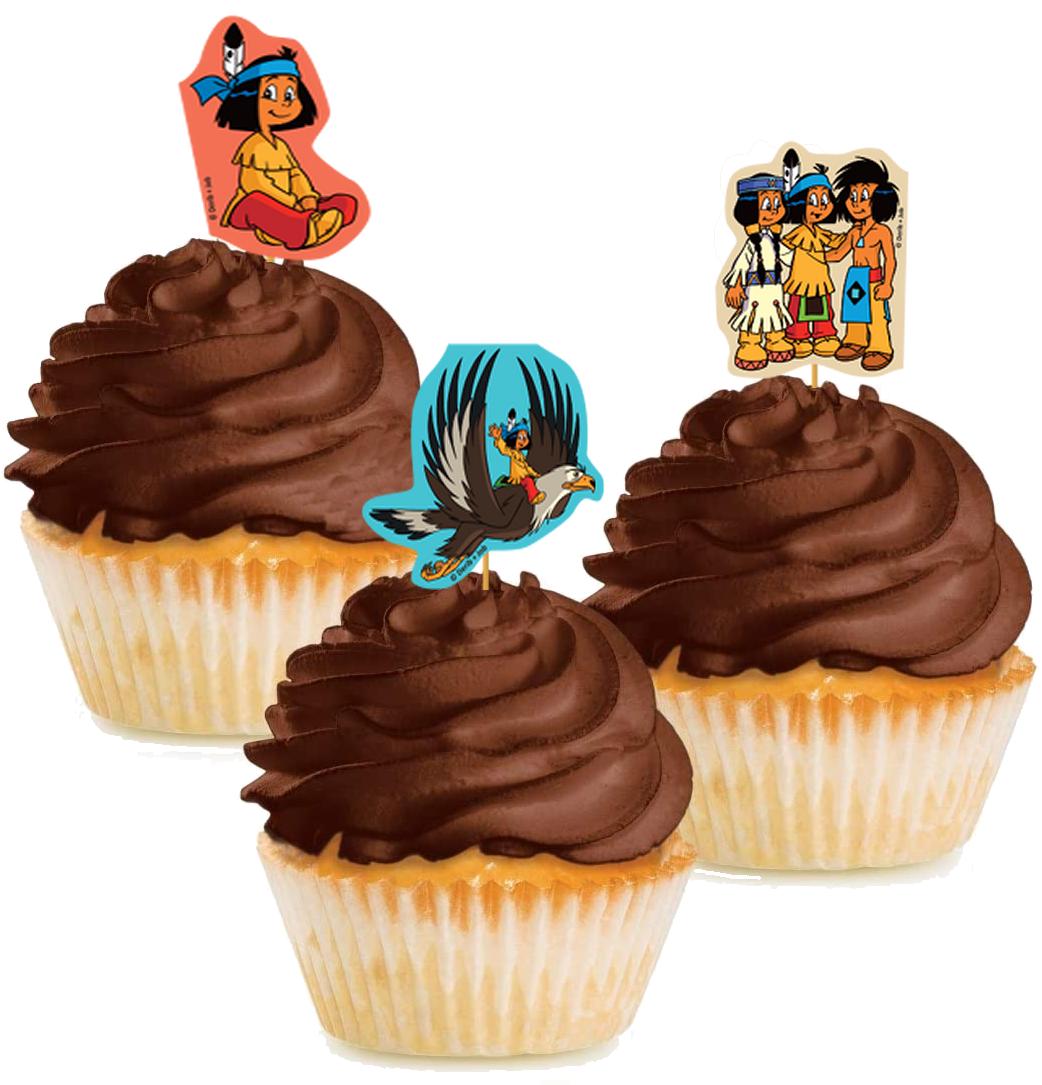 10 Cupcake Deko-Sticks - Yakari