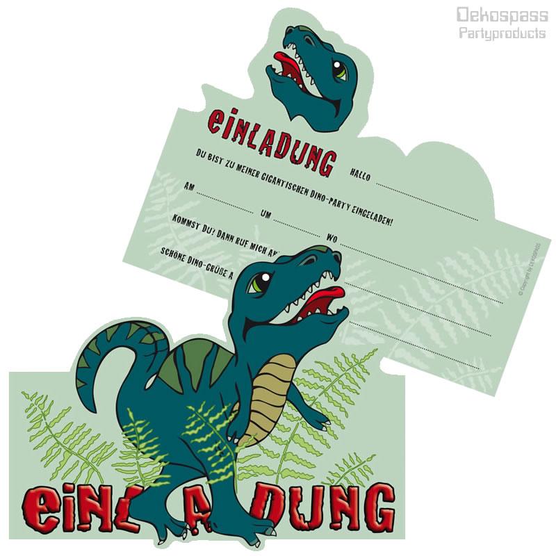 6 einladungskarten dinosaurier  trex in motivform