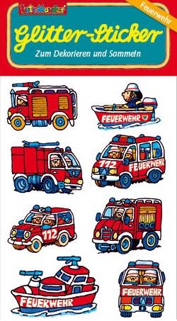 Feuerwehrfahrzeuge Glitter-Sticker