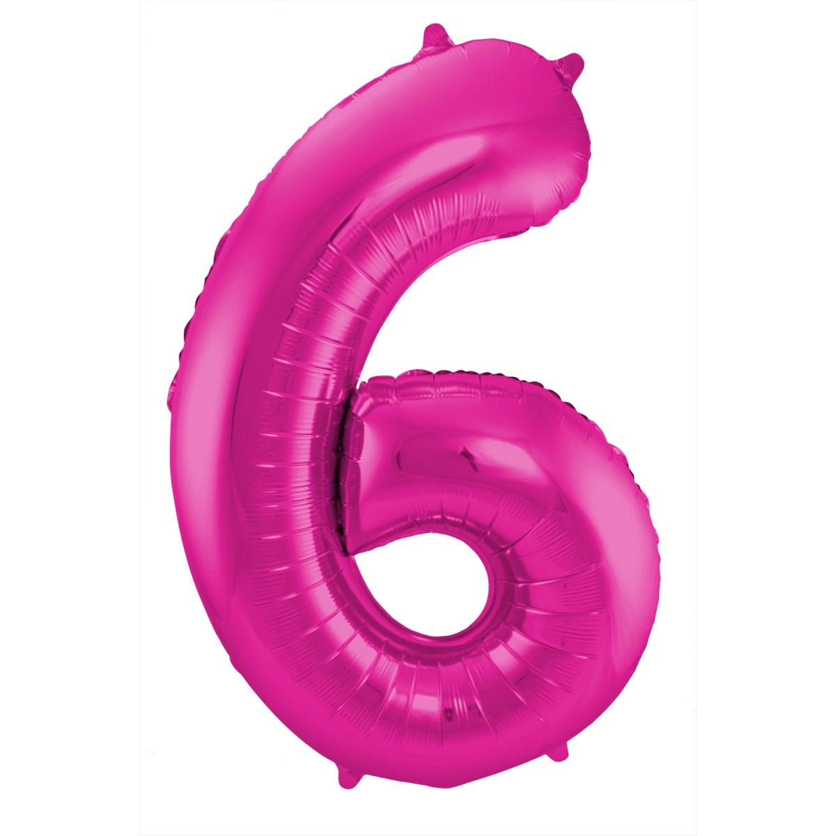 Folienballon Zahl 6 - in Magenta