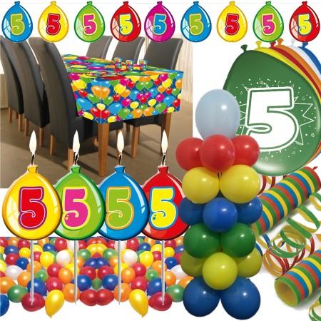 Deko Set Für Den 5 Geburtstag Mit 63 Teilen Für Einen Bunten