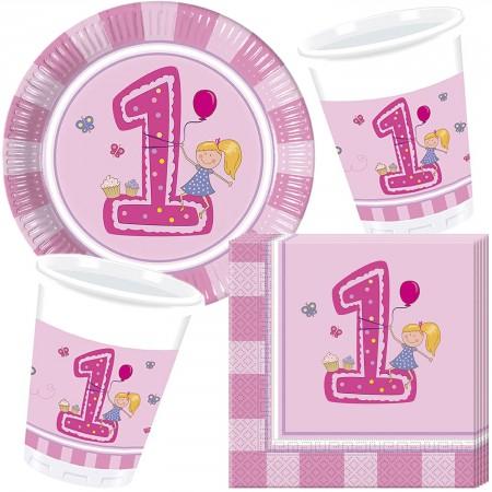 37 Teiliges Party Set 1 Geburtstag Madchen Mit Teller Becher