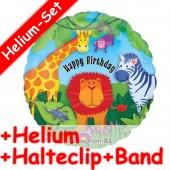 Folienballon Safari - Happy Birthday - Mit Helium