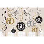 12 Deko-Wirbel 60. Geburtstag - Sparkling Celebration