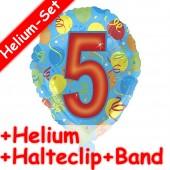 Folienballon Zahl 5 in bunt - Mit Helium