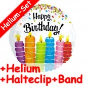 Folienballon Happy Birthday - Kerzen - Mit Helium