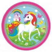 8 Teller Regenbogen-Einhorn