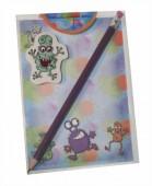 Schreibset A6 Monster mit Block, Bleistift und Radiergummi